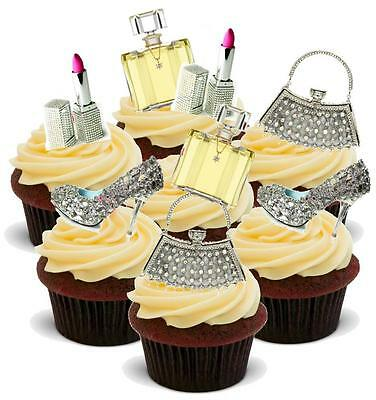 NOVELTY VALUE PACK BLING MakeUp Handbag Shoe MIX 20 Cake Toppers Birthday