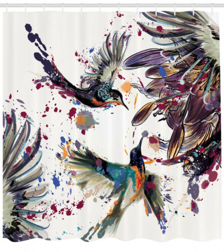 Shower Curtain Birds Watercolor Painting Style Splash 84 Inches Extra Long