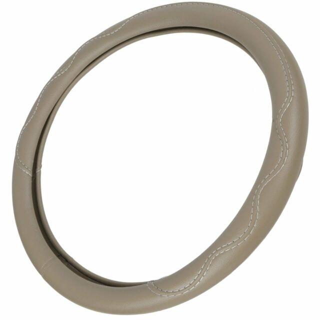 New BPA Free Odorless Beige Tan Simulated Leather Car Truck Steering Wheel Cover