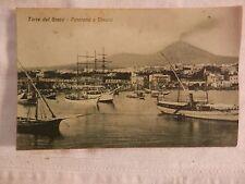 Vecchia foto cartolina d epoca di Torre del Greco panorama Vesuvio imbarcazioni