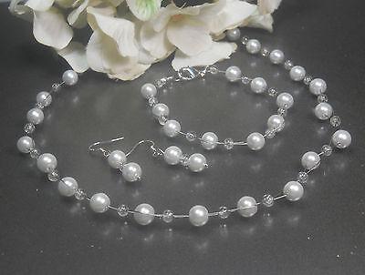 Funkelndes Perlen Schmuckset  weiß Kette Collier  Armband Ohrhaken 925 Silber