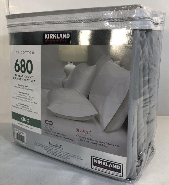 Kirkland Signature 680 Thread 6 Piece Cotton Sheet Set White King