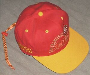 SAN-FRANCISCO-SF-49ers-Red-Gold-Embroidered-NFL-1-Apparel-DRAWSTRING-Cap-EUC