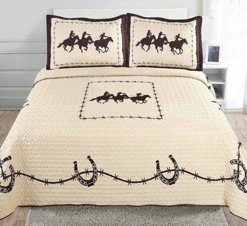 Western Rodeo Wild Running Horse Quilt bedspread comforter 3pc-QUICK SHIPPING!