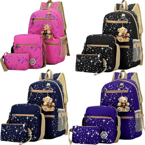 3er Set Damen Mädchen Schulrucksack Schulranzen Schultasche Backpack Rucksack