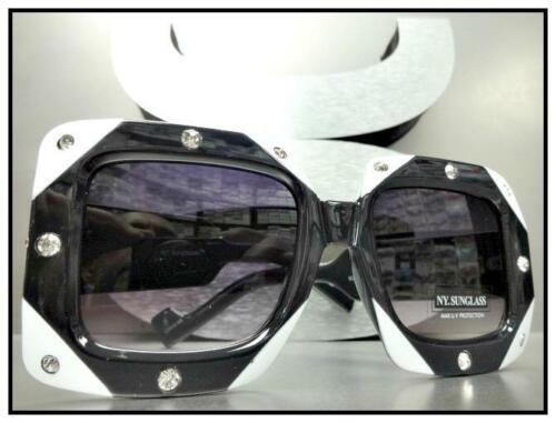 OVERSIZED VINTAGE RETRO Style SUN GLASSES Square Black /& White Frame Rhinestones
