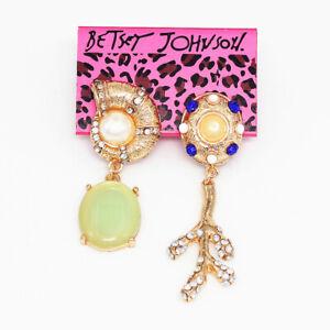 Betsey-Johnson-Women-039-s-Crystal-Pearl-Resin-Conch-Eardrop-Asymmetry-Earrings