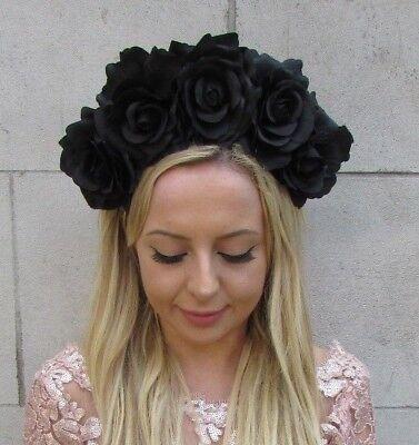 Black Rose Flower Headband Sugar Skull Day of the Dead Hair Crown Halloween 6372