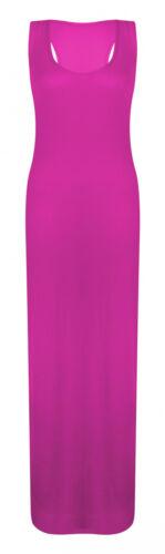 Pour femme Jersey Muscle Dos Nageur Maxi Longue Gilet Robe d/'été Taille 8-26