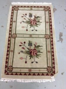 Pottery Barn Handwoven Wool Floral Dhurrie Fringe Area