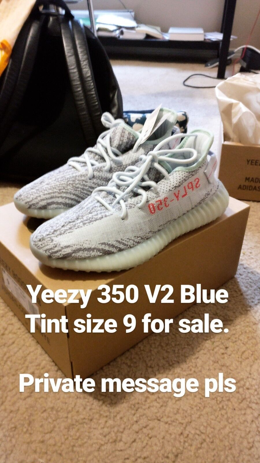 ADIDAS YEEZY BOOST 350 V2 BLUE TINT SIZE 9 US. NEW