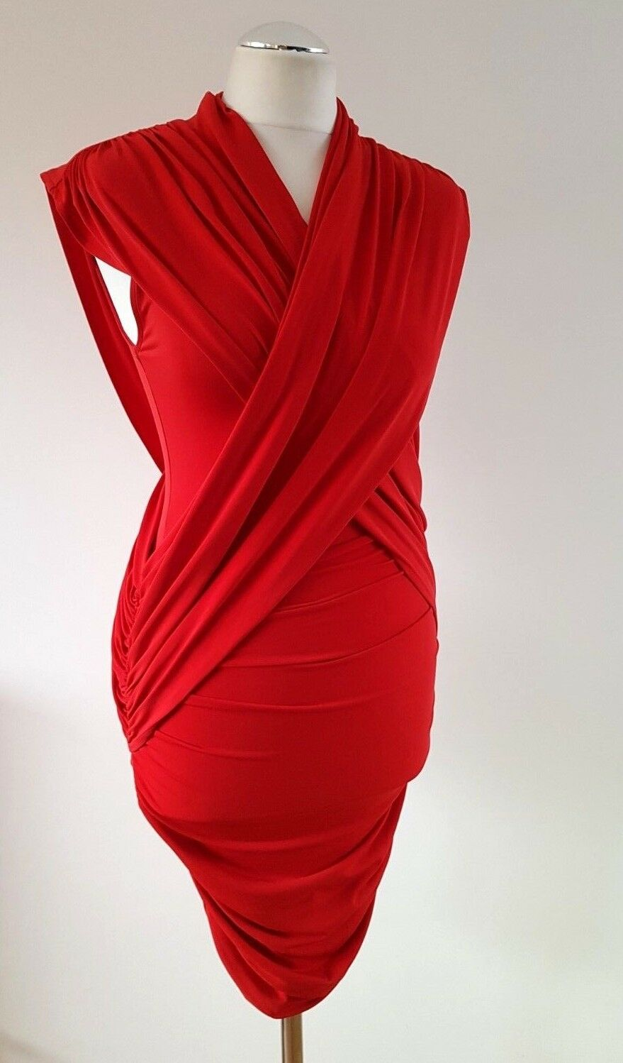 French Connection Red Bodycon Ruched Stretchy Party Sleeveless Dress