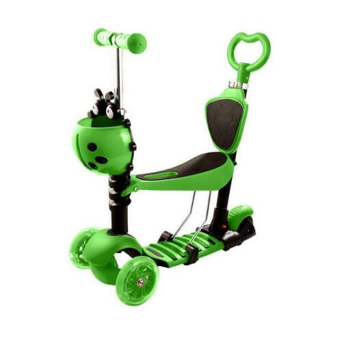 3 Wheel Adjustable Folding Kick Scooter Kids Kick board Push T-Bar LED