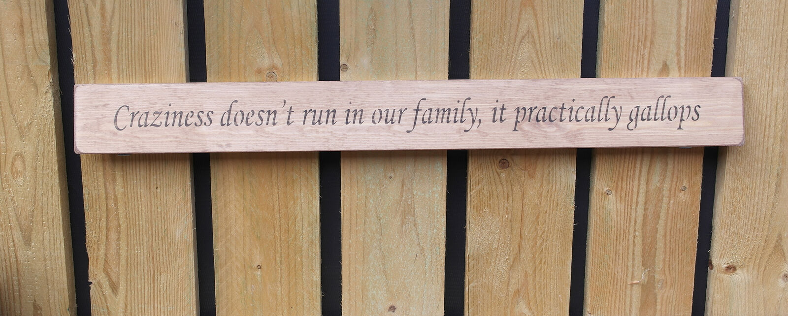 Handmade wooden sign Crazineness doesn't run in our family.....