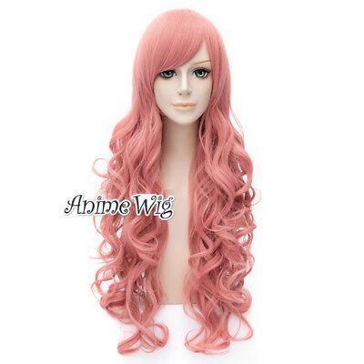 80 Cm Animesynthetisch Pink Rosa Halloween Cosplay Volle Perücke Elegant Im Stil