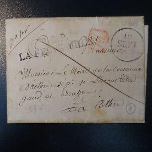 Frankreich & Kolonien Brief Cover P2p La Ferte Milon 1828 53mm Siegel Xx Rotes Briefmarken Marke Post