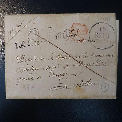 Europa Brief Cover P2p La Ferte Milon 1828 53mm Siegel Xx Rotes Marke Post