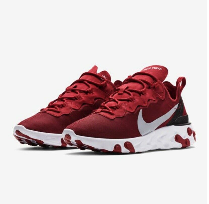 NEW Men's NIKE REACT Element 55 Gym Red White Running shoes BQ6166 601 Size 12 US