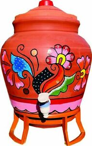 Indian traditional Clay Water Pot with Comfortable Flip Tap