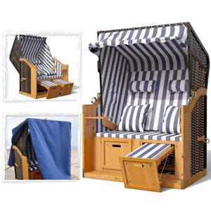 xxl strandkorb volllieger ostsee schutzh lle 4 kissen gartenliege blau wei ebay. Black Bedroom Furniture Sets. Home Design Ideas