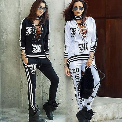 By Alina Damen 2-Teiler Pullover Hausanzug Jogginghose Freizeit Anzug Print XS-M