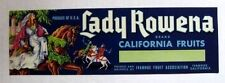 1950s Lady Rowena Princess on Horse Fruit Crate Label