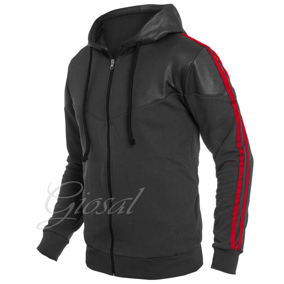 Männer Pullover MOD schwarz Streifen Schnürsenkel Taschen Vorderseite