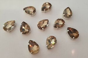 10-pieces-18-x-13mm-Topaz-Tear-Drop-Rhinestone-Jewel-Gem-with-claw-Sew-on