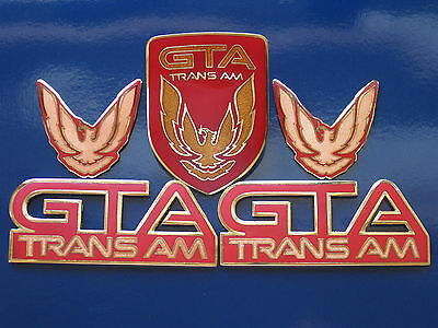 BRIGHT RED Trans Am GTA Emblem Kit 8 Piece Kit for 87-90 Firebird TA GTA