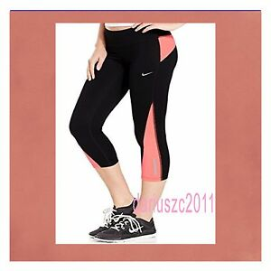NIKE-WOMEN-039-S-DRI-FIT-RACER-2-0-CROP-RUNNING-CAPRI-TIGHTS-BLACK-SIZE-L-708276-010
