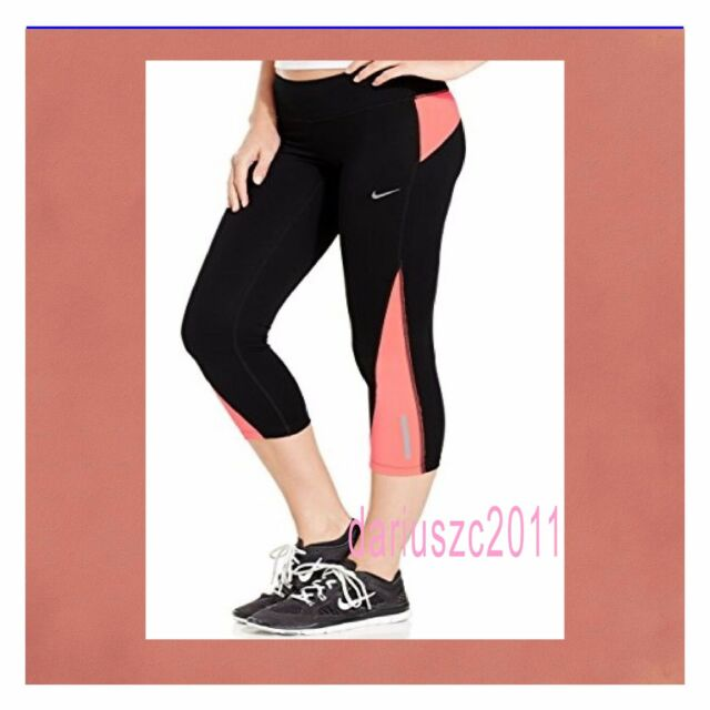NIKE WOMEN'S DRI-FIT RACER 2.0 CROP RUNNING CAPRI TIGHTS BLACK SIZE L 708276 010