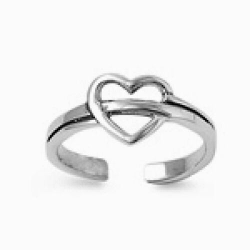 USA Seller Heart Toe Ring Sterling Silver 925 Best Deal Adjustable Jewelry Gift