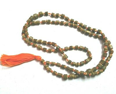 TULSI MALA UNCUT WOOD BEADS ORANGE THREAD YOGA HINDU RELIGIOUS PRAYER NECKLACE
