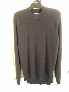 SCANLAN-THEODORE-Dark-Grey-Blunt-Hem-Cashmere-Sweater-Sz-L-BNWT-RRP-350