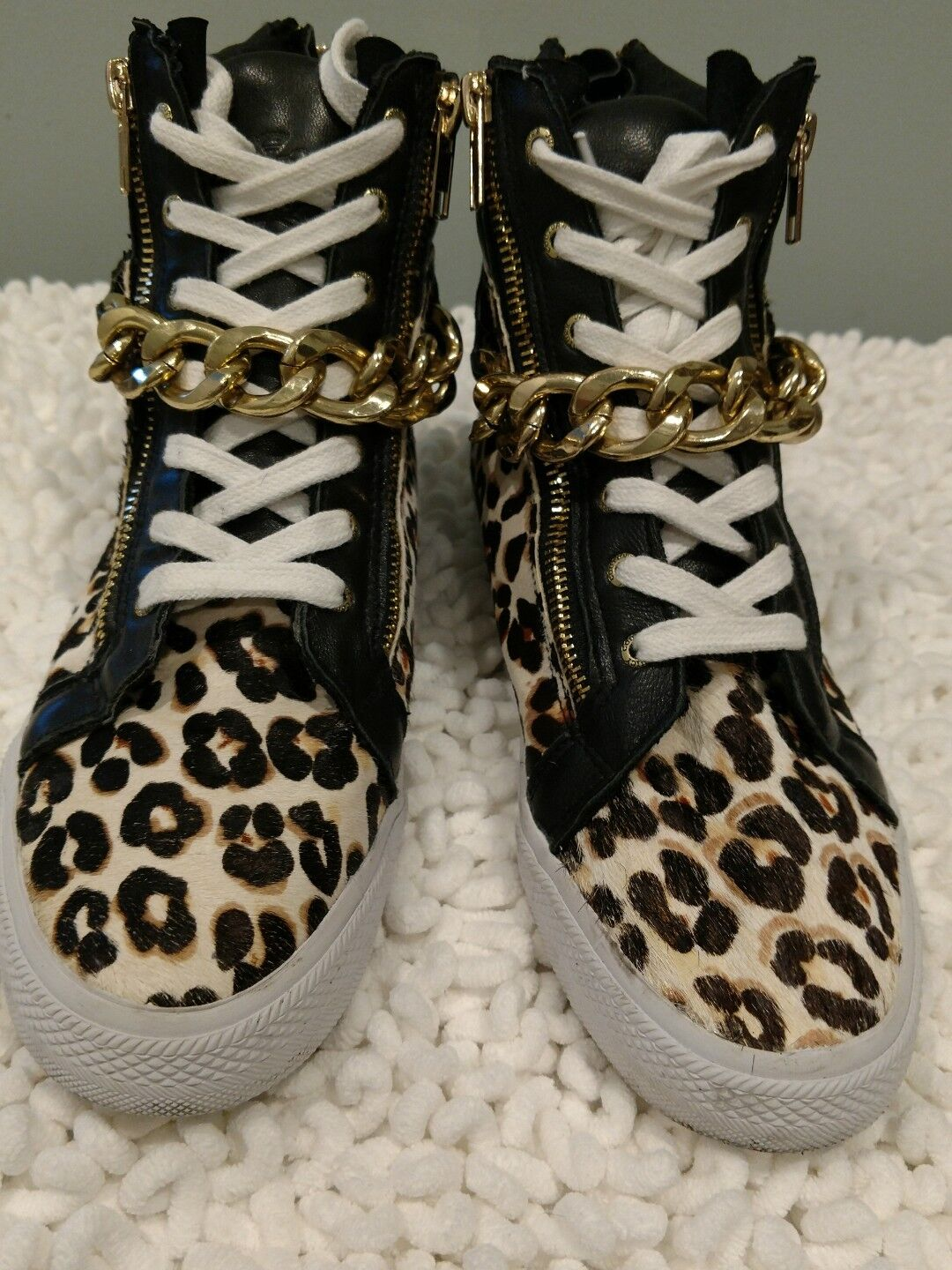 Juicy Couture cheetah print leather cow hair high top sneakers womens sz 7  189