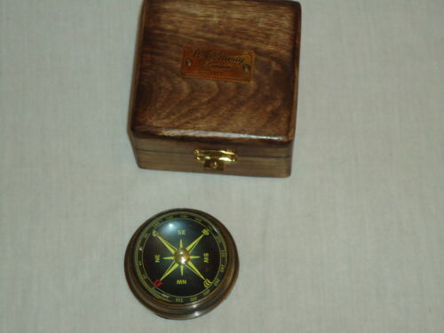 Brass floating Compass Paper Weight in A Hard Wood Box W Ottway London Film Prop