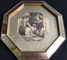Mid Century Modern Two Young Girls Bird At Window Eng Print Octagon Mirror Frame