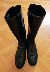 Details zu Gabor Damen Reiterstiefel aus Leder, Größe 44,5, schwarz
