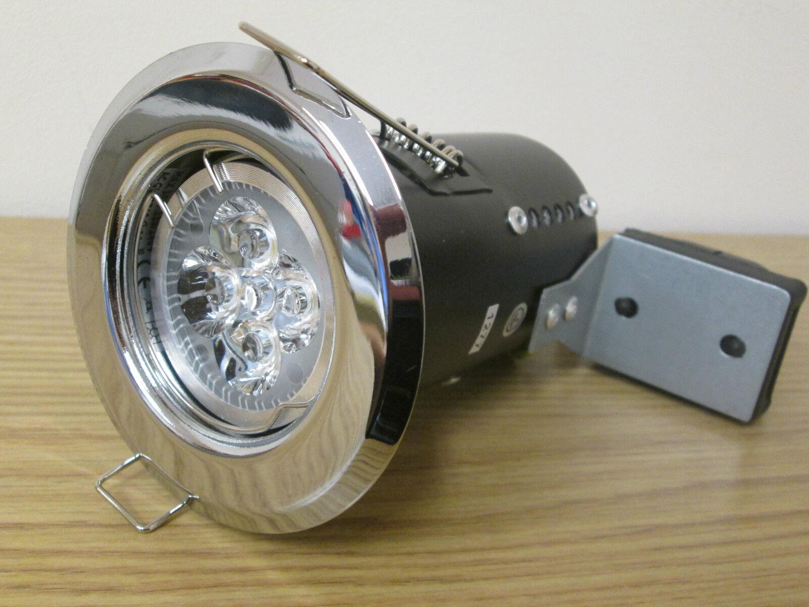 10 X fuego con calificación de 4 vatios Led Gu10 Fija Downlight blancoo Cálido Cromo Pulido Nueva
