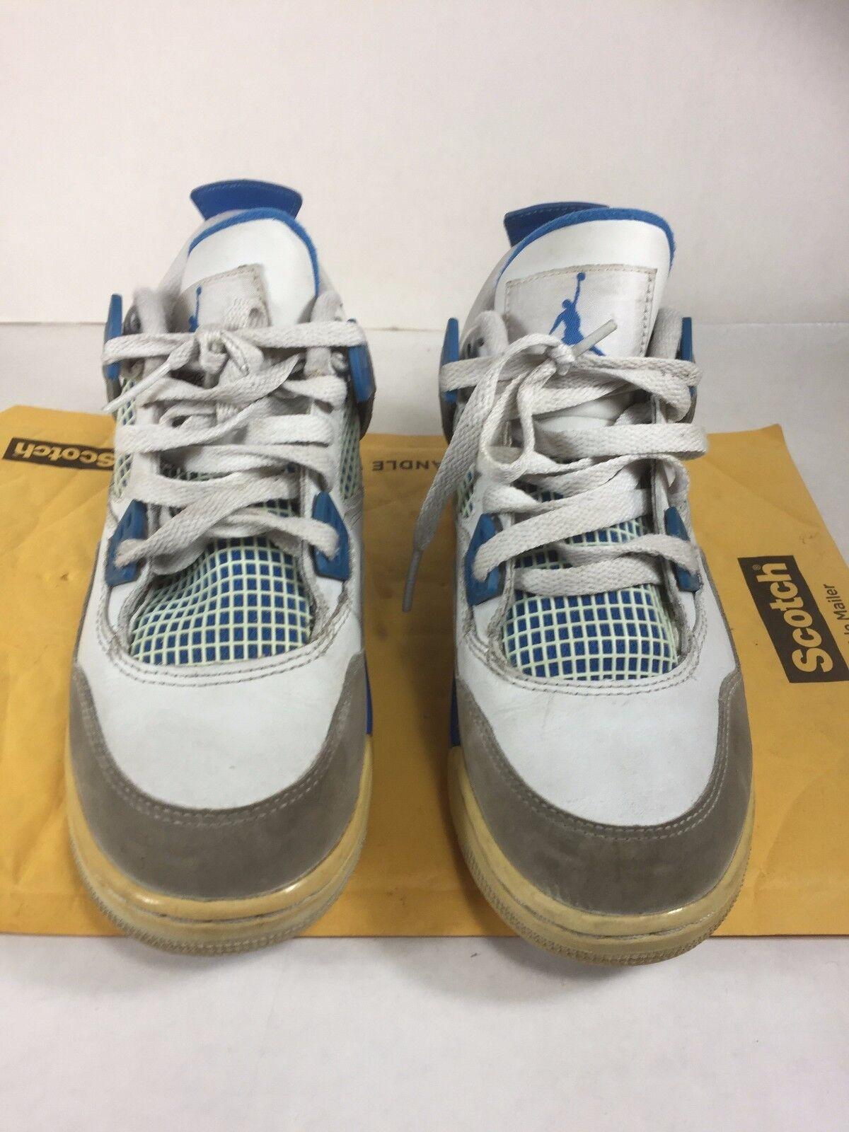 Air Jordan Retro IV 4 Military bluee White Neutral Grey Size 4 Youth GS