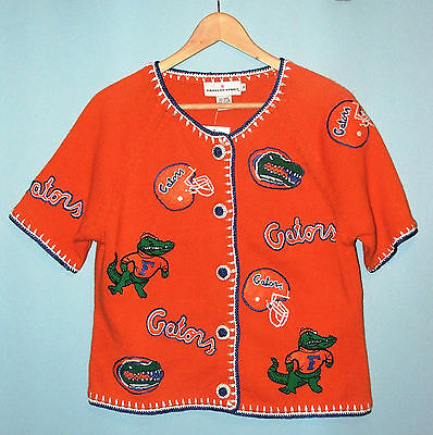 NCAA Univ. of Florida Gators Knit Football Cardigan Sweater Retro Medium NEW