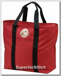 CLUMBER-SPANIEL-embroidered-tote-bag-ANY-COLOR