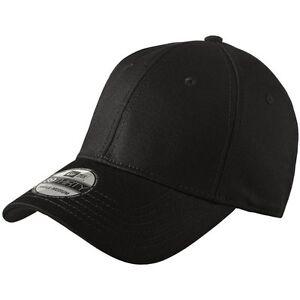 New Era 39Thirty Blank Stretch Cotton fitted BLACK Hat Cap NE1000 ... 62edbb3d572