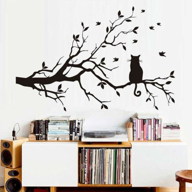Cat On The Tree Branch Wall Sticker Removable Art Mural Room Home Decor Decals