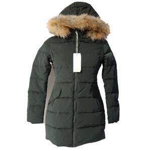 Dettagli su Bomboogie giacca donna Piumino parka cappuccio pelliccia CW432 verde militare