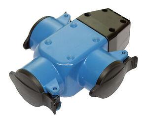 Schuko-Kupplung-Gummi-Verteiler-Dose-Kupplung-3fach-blau-16A-AS-Schwabe-60057