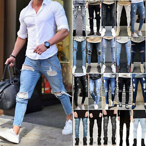 All-Waist-Size-Men-039-s-Ripped-Jeans-Skinny-Slim-Destroyed-Frayed-Denim-Full-Pants
