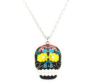 NEW-Large-Rockabilly-Goth-Mexican-Sugar-Skull-Necklace-Day-Of-The-Dead-Necklace