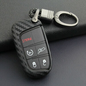 Carbon-Fiber-Key-Fob-Chain-For-Jeep-Dodge-Chrysler-Accessories-Cover-Cases-Ring