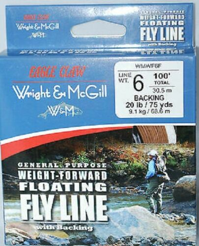 Eagle Claw Fly Fishing Line 6 WT Poids Avant Flottant Avec Support wmwf 6 F truite